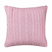 Homescapes Cotton Cable Knit Pastel Pink Cushion Cover, 45 x 45 cm