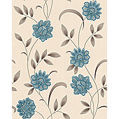 Graham & Brown Premier SW Sadie Wallpaper - Teal / Cream