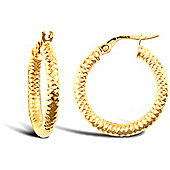 Jewelco London 9ct Yellow Gold Super Light striped Diamond-cut round-tube hoop Earrings
