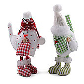 Set of Two Standing Fabric Birds with Knitted Hat & Fluffy Detail