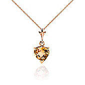 QP Jewellers 20in 1.15mm Heart Necklace with 1.15ct Citrine Pendant in 14K Rose Gold