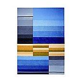 Esprit Split Blue Contemporary Rug - 70cm x 140cm