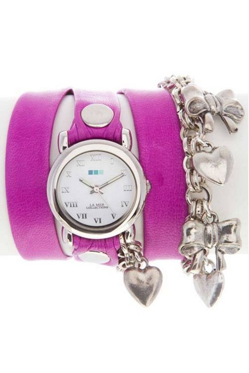 La Mer Ladies Charm And Chain Purple Leather Watch LMCW7001