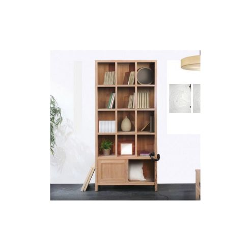 Tikamoon Coffee Tek Teak Slide Bookcase