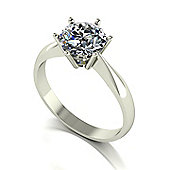 9ct White Gold 7.5mm Round Brilliant Moissanite Single Stone Ring.