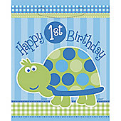 Turtle 1st Birthday Plastic Party Bags (8pk)