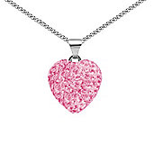 Jewelco London Sterling Silver Pink Crystal Love Baby Pink Heart Pendant - 18 inch Chain