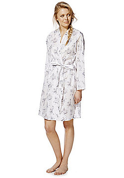 F&F Floral Print Textured Dressing Gown - Multi