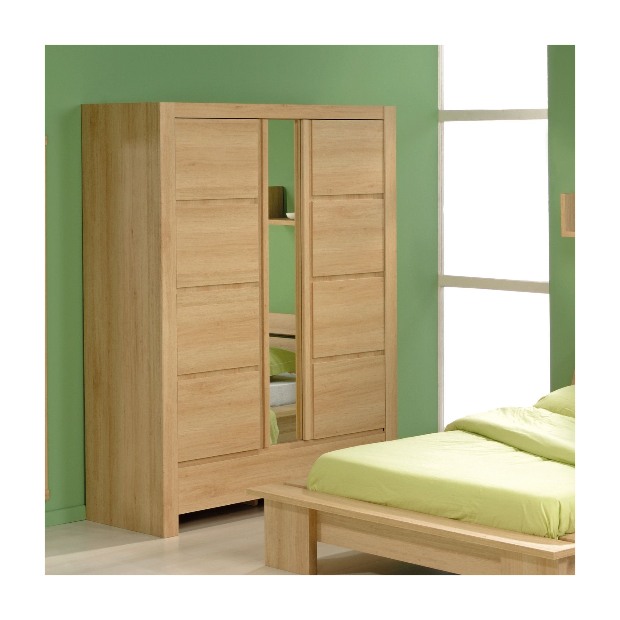 Parisot Spa Mirrored Two Door Wardrobe in Natural Oak at Tesco Direct