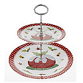 Christmas - Xmas Pudding 2 Tier Cake Party Stand - Red / White