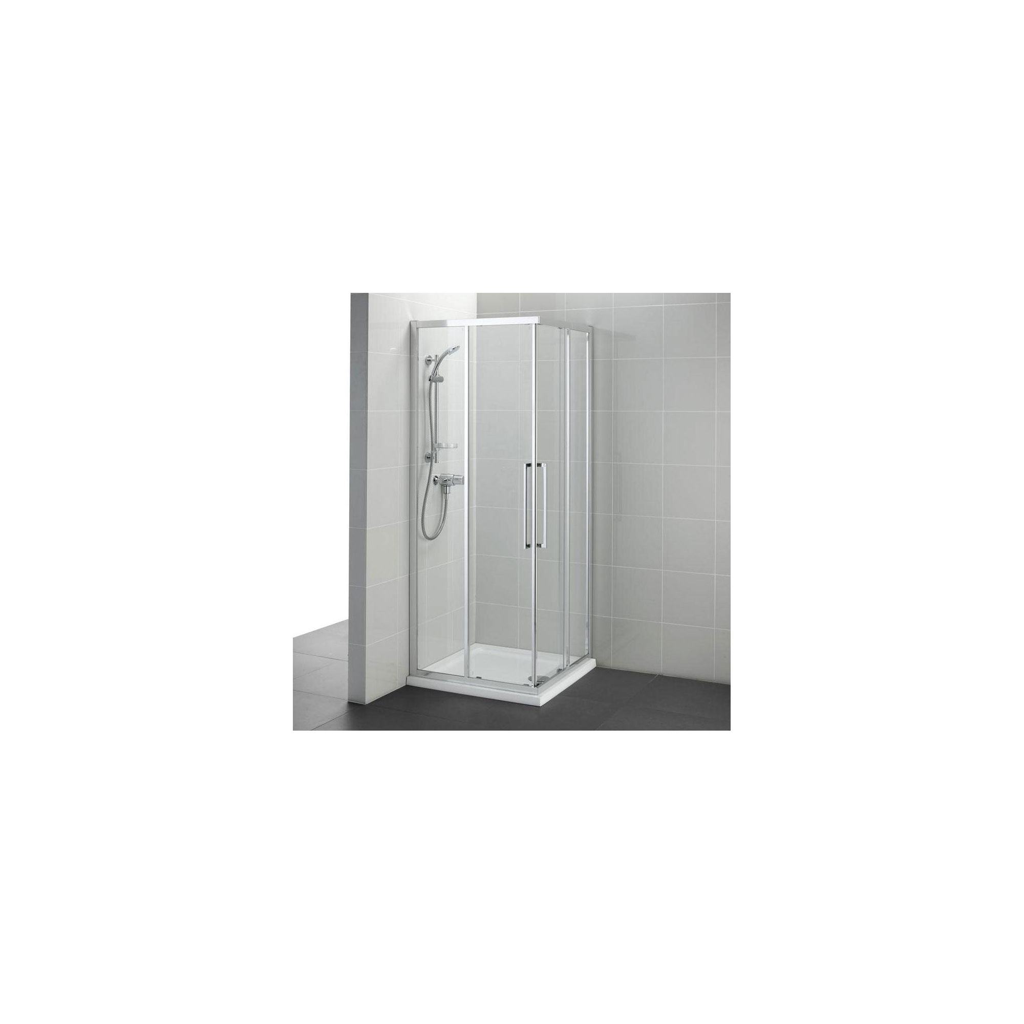 Ideal Standard Kubo Corner Entry Shower Enclosure, 800mm x 800mm, Bright Silver Frame, Low Profile Tray at Tesco Direct