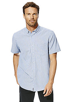 F&F Checked Soft Touch Regular Fit Short Sleeve Shirt - Blue