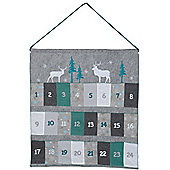 Large Hanging Fabric Christmas Advent Calendar In Frosted Colours