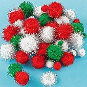 Christmas Glitter Pom Poms (100 Pcs) Craft