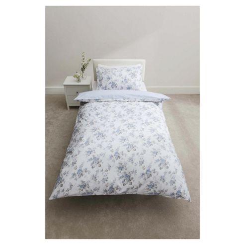 Tesco 100% Cotton Floral Duvet Cover Set Single Pale Blue