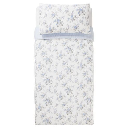 Tesco 100% Cotton Floral Duvet Cover Set Single Pale Blue