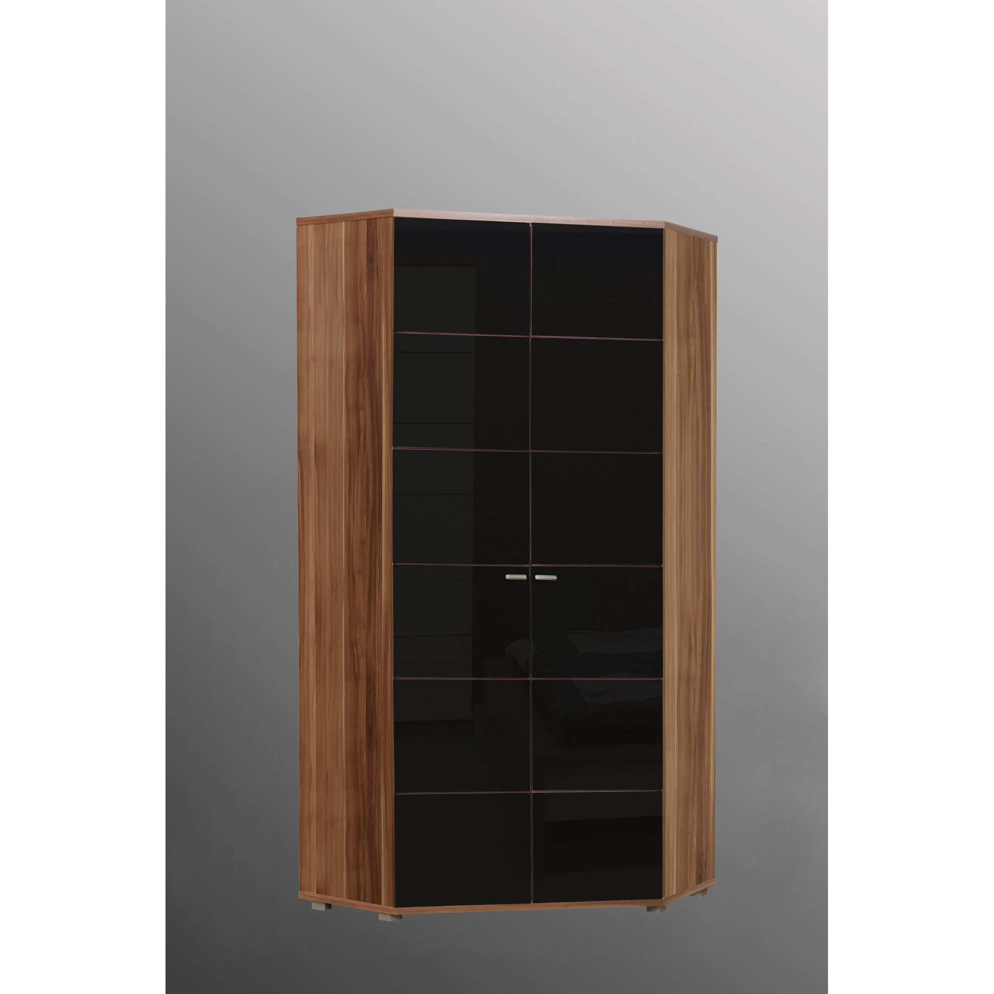 Ideal Furniture Anemone Corner Wardrobe - Walnut with Black Gloss