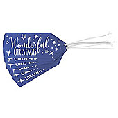 Silver and Blue Text Christmas Gift Tags, 6 pack