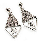 Rhodium Plated Wire Drop Earring - 7.5cm Length
