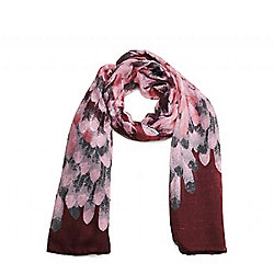 Pink Feather Print Long Scarf