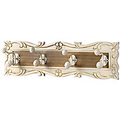 Country - Wall Mounted 4 Hook Coat Rack Hanger - Cream