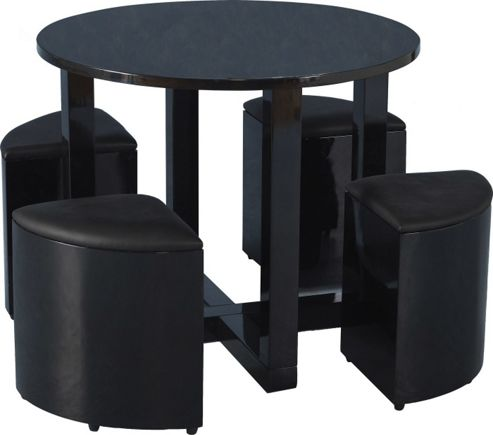 Home Essence Boston Stowaway 4 Chair Dining Set - Black Gloss