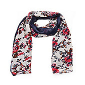 Navy and Pink Vintage Rose Print Lightweight Scarf