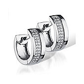 The REAL Effect Rhodium Coated Sterling Silver Cubic Zirconia Double-Row Strips Huggie Earrings