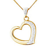 Sterling Silver and 9ct Gold Crystal Set Heart Shape Pendant with Chain