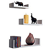 Wall Mounted Display Storage Shelves - Set Of 3 - White