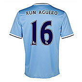 2013-14 Man City Home Shirt (Kun Aguero 16) - Ocean blue