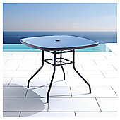 Seville Round Glass/Steel Table - Charcoal