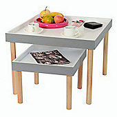 Rayleigh - Set Of Two Tray Tables - Grey / White / Pine