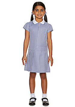 F&F School Girls Gingham Zip Dress with Scrunchie - Navy