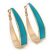 Gold Plated Teal Enamel Oval Hoop Earrings - 6cm Length