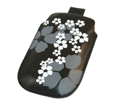 Black White Flower Slip Pouch Protective Case with Pull Tab - BlackBerry 8900