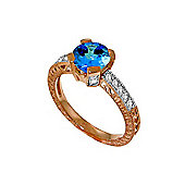 QP Jewellers Diamond & Blue Topaz Fantasy Ring in 14K Rose Gold