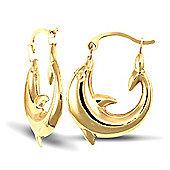 Jewelco London 9ct Yellow gold Polished Dolphin shaped earrings