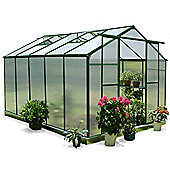 Nison EaZi-Click 10X8 Aluminium Polycarbonate Greenhouse in Dark Green including Base