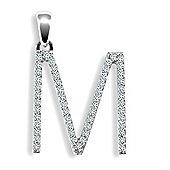 9ct White Gold Diamond Initial Identity Pendant - Letter M