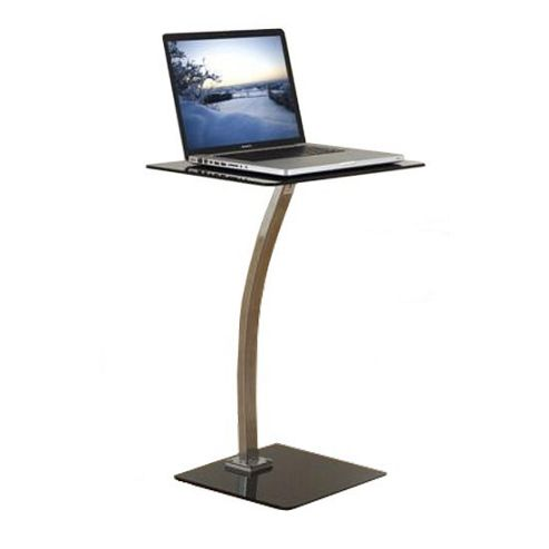 Black Glass and Chrome Laptop Table