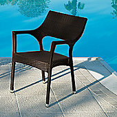 Varaschin Cafenoir Outdoor Dining Chair with Arms by Varaschin R and D (Set of 2) - Dark Brown - Panama Orange