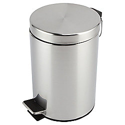 Tesco 3 Litre Bathroom Bin, Brushed Chrome