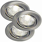 Nordlux Recess LED Downlight - Set of 3 - Brushed Steel