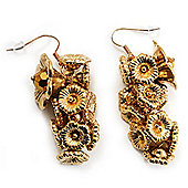 Gold Tone Floral Cluster Drop Earrings - 5.5cm Length