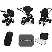 Ickle Bubba Stomp v3 AIO Travel System, Mosquito Net & Cup Holder - Black (Silver Chassis)
