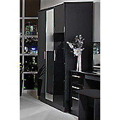 Welcome Furniture Knightsbridge Tall Wardrobe with Mirror - Black - Black