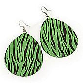 Long Green 'Zebra Print' Teardrop Metal Earrings - 6.5cm Length