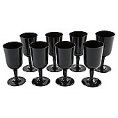 Plastic Wine Glass, Black, 8 Pack