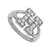 Silver Cubic Zirconia Identity ID Initial Signet Ring Letter H